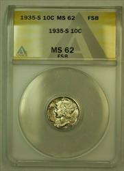 1935 S Mercury Dime 10c ANACS FB FSB (Undergraded) *Nicely Toned*