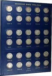 1946 to Roughly 65 70 Circulated Roosevelt Dime  Set Whitman No 9414 Album
