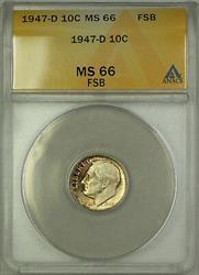 1947 D  Roosevelt Dime 10c ANACS FSB Toned