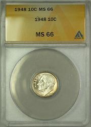 1948  Roosevelt Dime 10c ANACS Beautiful Reverse Toning