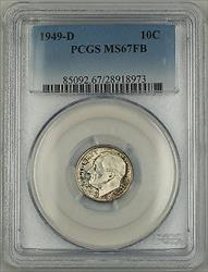 1949 D  Roosevelt Dime 10c coin PCGS Lightly Toned