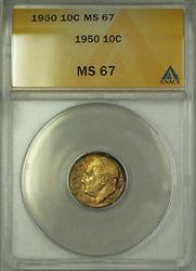 1950  Roosevelt Dime 10c ANACS Obverse Toning