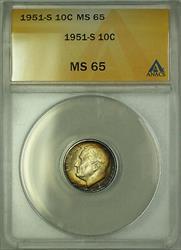 1951 S  Roosevelt Dime 10c ANACS Rim Toning