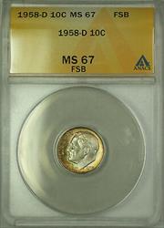 1958 D  Roosevelt Dime 10c ANACS FSB Toned