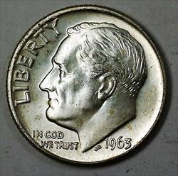 1963 D Brilliant Uncirculated  Roosevelt Dime $5 Roll 50 BU s