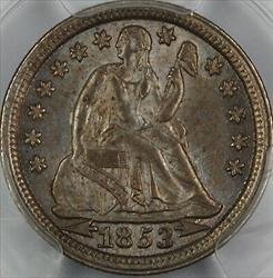 1853 Seated Liberty  Dime PCGS Arrows Nice Dark Toning