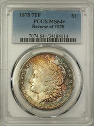 1878 7 TF Reverse of 78 Morgan    PCGS + Nicely Toned OBV