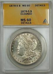 1878 S Morgan    ANACS Details Cleaned