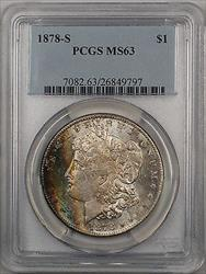 1878 S Morgan   $1  PCGS Beautifully Toned Rim