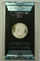 1880 CC 2nd 8/7 VAM 5 Top 100 GSA Morgan   $1 ANACS Box & COA