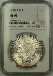 1880 S Morgan   $1  NGC Lightly Toned (15c)