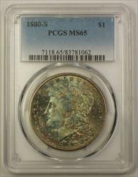1880 S US Morgan    $1 PCGS GEM Example Beautifully Toned