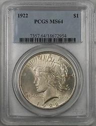 1922  Peace  $1  PCGS (BR 11 I) Lightly Toned Better