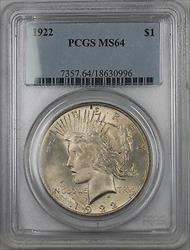 1922  Peace  $1  PCGS (BR 11G) Lightly Toned