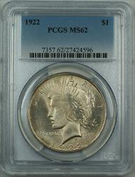 1922  Peace  $1 PCGS  Better  Lightly Toned