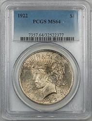 1922  Peace  $1 PCGS 5A Toned
