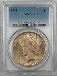 1922  Peace  $1 PCGS 5B Toned Better