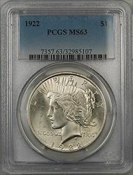 1922  Peace  $1 PCGS 5F Better