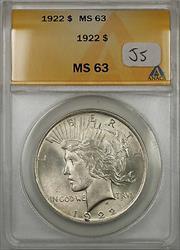1922 Peace   $1  ANACS (JS)