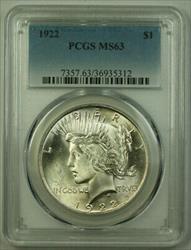 1922 Peace   $1  PCGS Better  (21) L