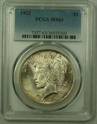 1922 Peace   $1  PCGS Lightly Toned (21) O