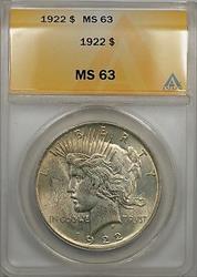 1922 Peace   $1 ANACS Lightly Toned A