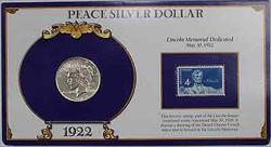 1922 Peace   In Stamped Holder with Info Lincoln Memorial Dedicated
