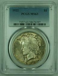 1922 Peace   PCGS (Very Well Struck) (B) Toned (25)