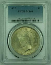 1922 Peace   S$1 PCGS Toned (Exceptional Obverse Strike)(A) 25