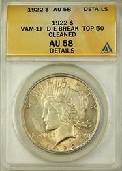 1922 VAM 1F Peace    ANACS Details Die Break Top 50