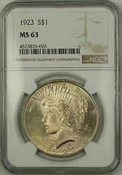 1923  Peace  $1  NGC Lightly Toned (15b)