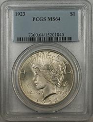 1923  Peace  $1  PCGS Light Toning (BR 12 K)