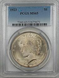 1923  Peace  $1  PCGS Lightly Toned Gem (9)