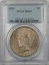1923  Peace  $1  PCGS Toned (BR 12 L)