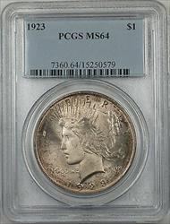 1923  Peace  $1  PCGS Toned (BR 12 M)