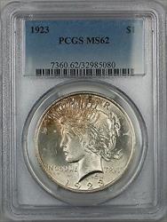 1923  Peace  $1 PCGS 5E Light Toning Better