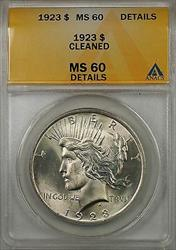1923 $1 Peace    ANACS Details Cleaned (Better  8C)