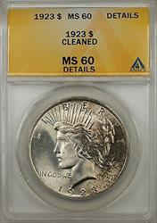 1923 $1 Peace   ANACS Toned GEM Details Cleaned (Better  8B)