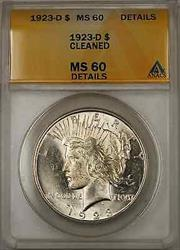 1923 D Peace    ANACS $1 Details Cleaned (Better  8A)