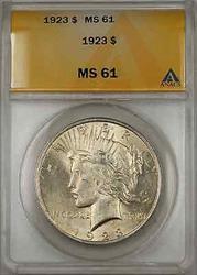 1923 Peace    ANACS $1 (Better  8C)
