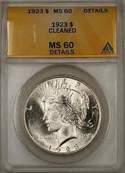1923 Peace    ANACS $1 Details Cleaned (Better  8H)