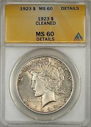1923 Peace  $1 ANACS Details Clnd Lightly Toned (Better ) (10)