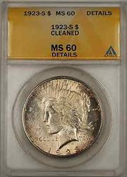 1923 S Peace    ANACS $1 Details Cleaned (Better  8A)
