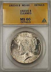 1923 S Peace    ANACS $1 Details Cleaned (Light Toning 8B)