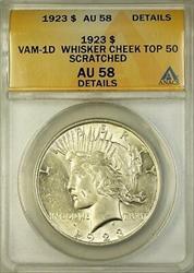 1923 VAM 1D Peace    ANACS Details Whisker Cheek Top 50