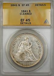 1841 Seated Liberty   $1  ANACS Details Cleaned PRX