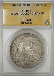 1842 Seated Liberty   $1 ANACS Fields Tooled Cleaned Details
