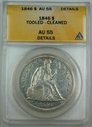1846 Seated Liberty   ANACS Details Cleaned/Tooled