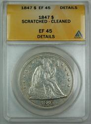 1847 Seated Liberty   ANACS Details Scratched/Cleaned