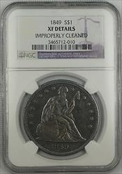 1849 Seated Liberty   $1  NGC XF Details Improperly Cleaned